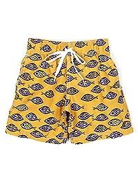 Azul Baby Boys Orange Aquatic Adjustable Waist Fish Eye Swim Trunks 12-24M
