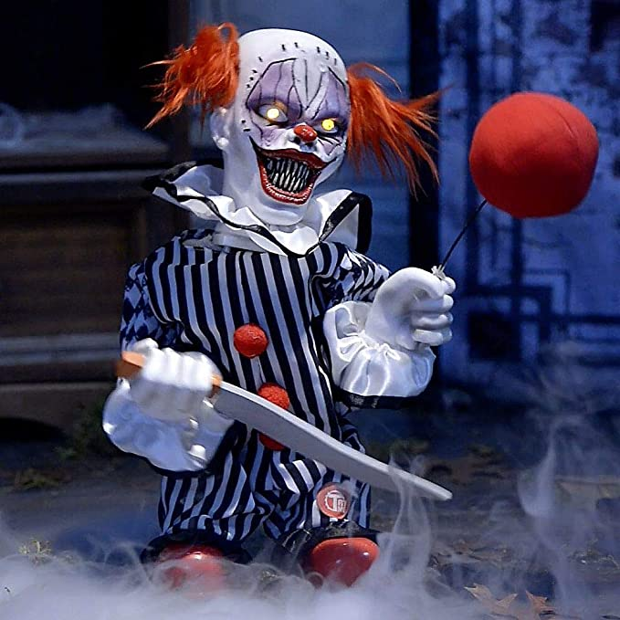 Scary Clown Animated Halloween Prop   Outdoor Animated Halloween Decor