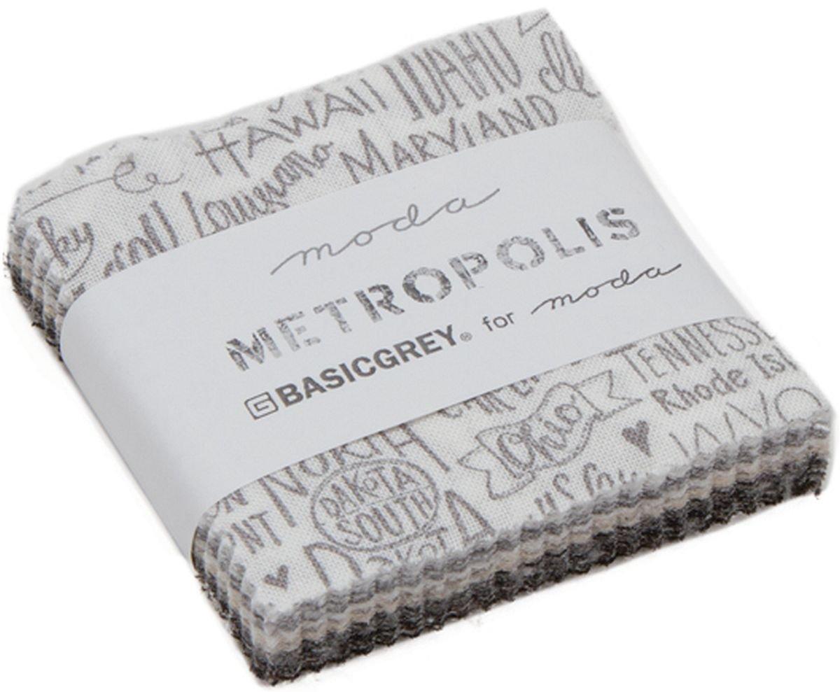 Metropolis Mini Charm Pack by BasicGrey; 42-2.5 Inch Precut Fabric Quilt Squares United Notions 30560MC