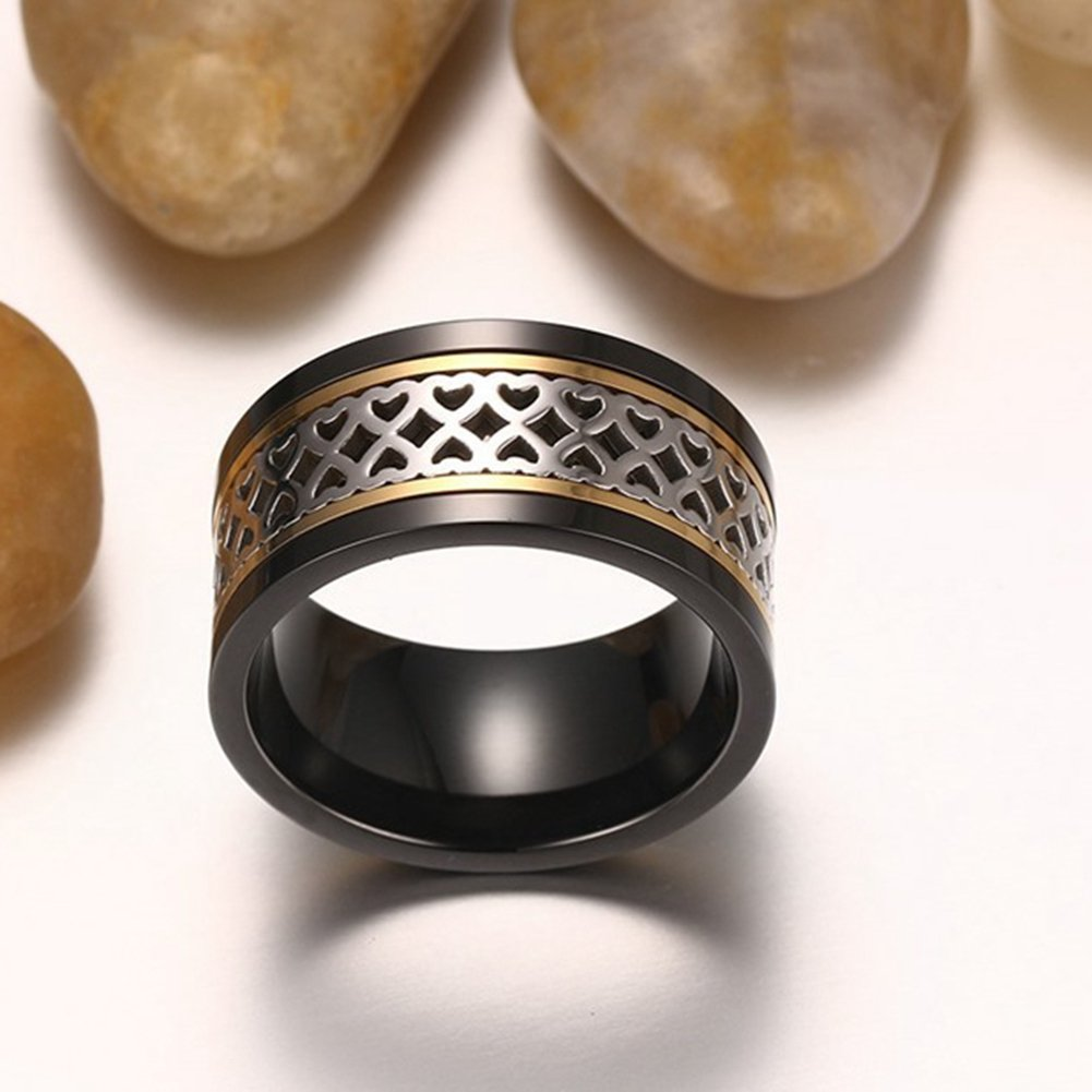 SAINTHERO Men's Wedding Bands Vintage Wide 12MM Black Titanium Steel Hearts Spinner Forever Love Promise Rings for Him High Polish Comfort Fit Size 11 by SAINTHERO (Image #3)