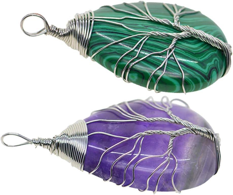 IPOTCH 2 Unids Árbol De La Vida Colgante De Malaquita Y Amatista Collar De Cristal De Rosa Colgantes De Piedras Preciosas Joyas DIY