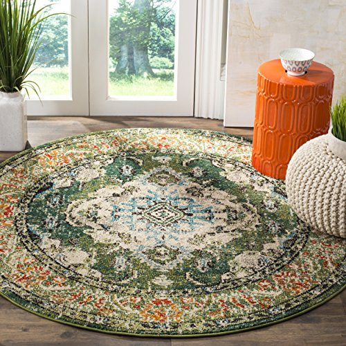 Safavieh Monaco Collection MNC243F Vintage Oriental Forest Green and Light Blue Distressed Round Area Rug (5' in Diameter)