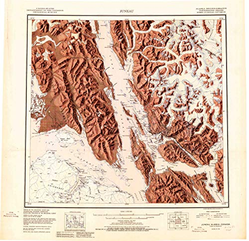 YellowMaps Juneau AK topo map, 1:250000 Scale, 1 X 2 Degree, Historical, 1951, 23.1 x 23.8 in - Tyvek -