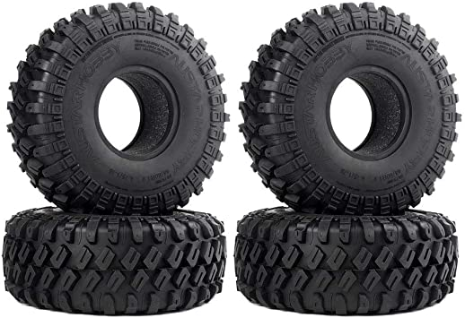 INJORA 1,9 Neumáticos Neumáticos de Caucho de Oruga para 1:10 RC Rock Oruga axial SCX10 SCX10 II 90046 90047 SCX10 III AXI03007 Traxxas TRX-4 TRX4