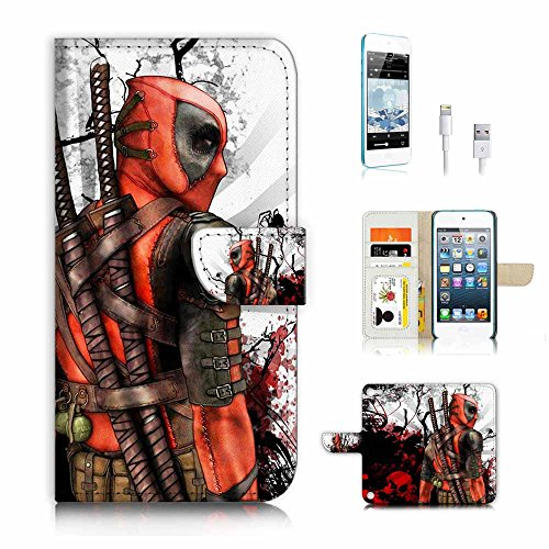 ( For ipod 5, itouch 5, touch 5 ) Flip Wallet Case Cover & Screen Protector & Charging Cable Bundle! A4100 Deadpool Superhero