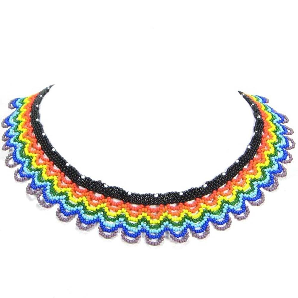 vivia Valentines Day Special Rainbow Color Seed Beaded Necklace Earrings Beadwork 19/1