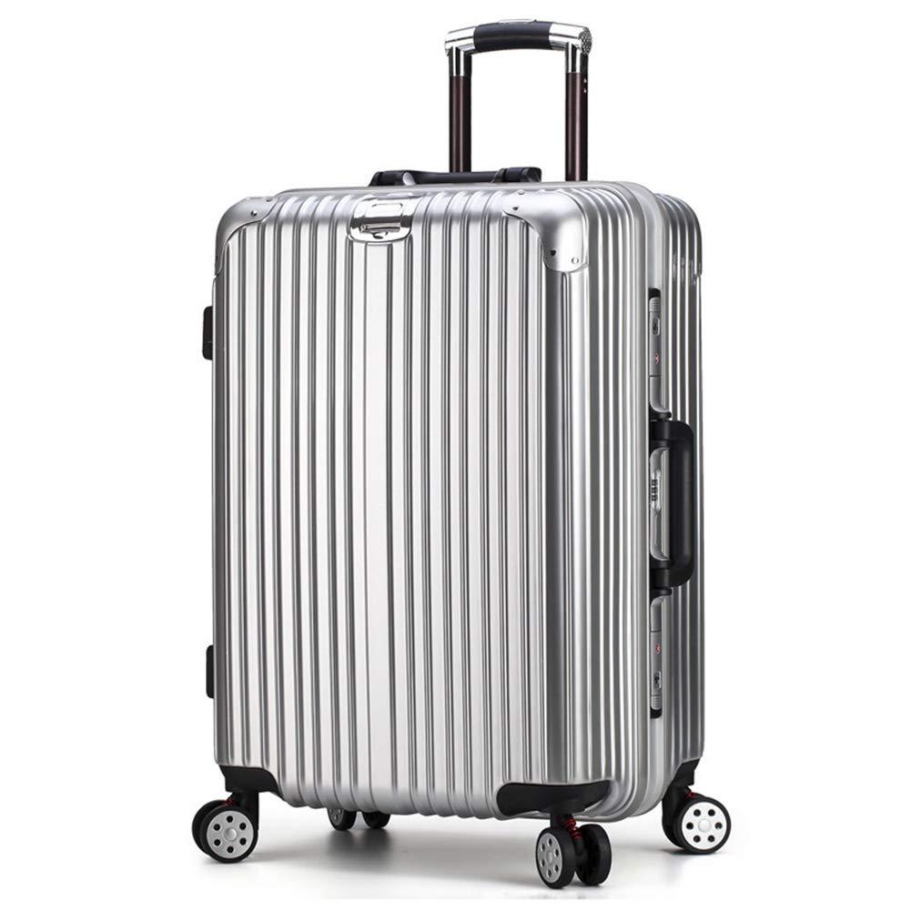 トロリースーツケース、スタイリッシュな個性360°ミュートキャスター荷物 37*28*54CM Silver B07Q4D3NZQ