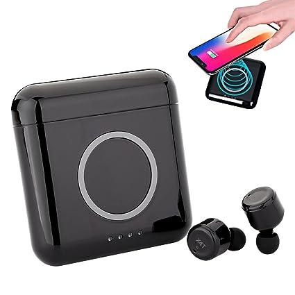 Auriculares Bluetooth inalámbricos, base de carga magnética 5200mah con USB, control táctil sensible (