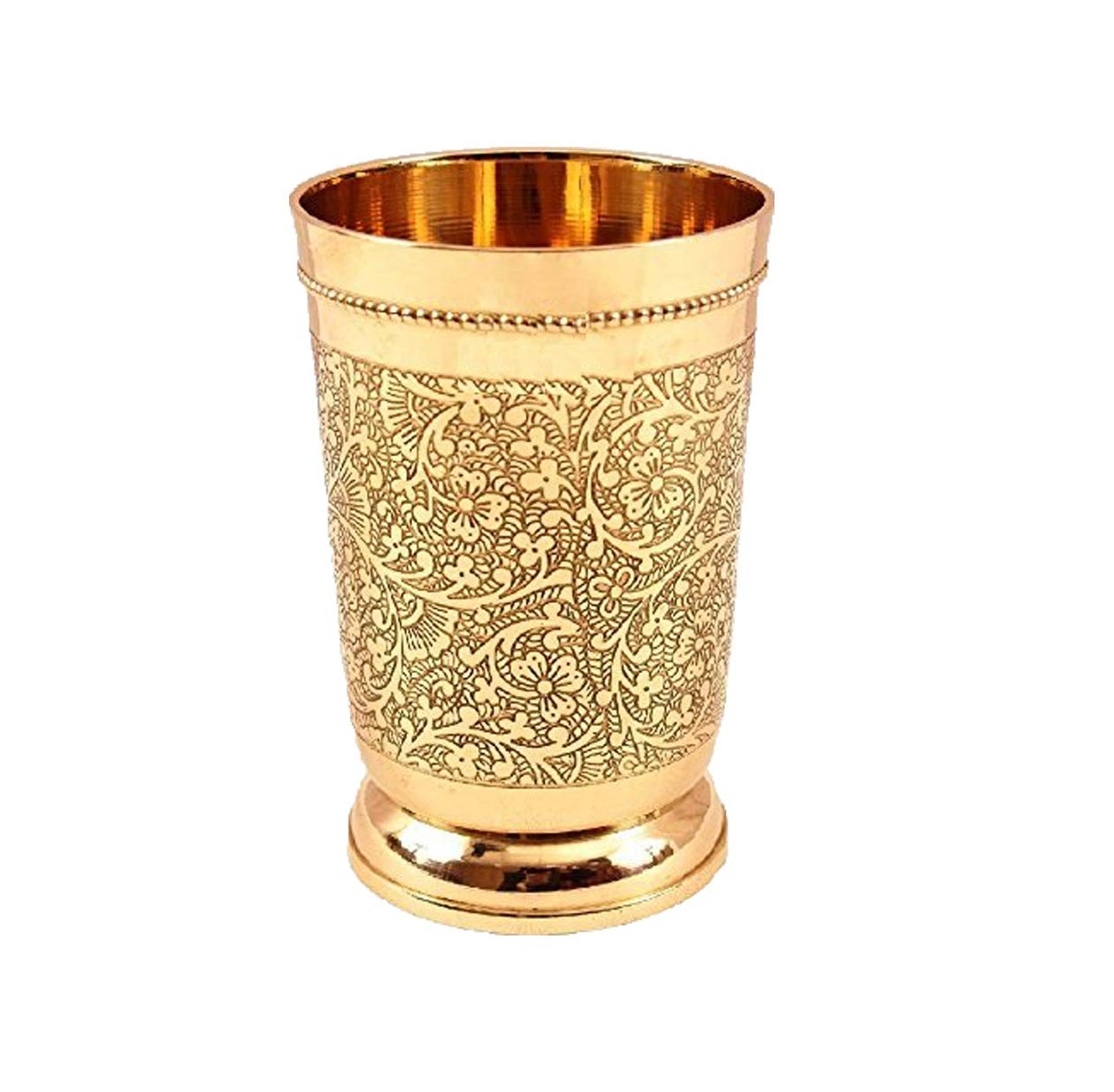 Embossed Designer Brass Mint Julep Cup Goblet Tumbler Capacity 12 Ounce Each by PARIJAT HANDICRAFT