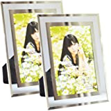 Gift garden Modern Glass Picture Frame 4x6 Friends gifs for 4 by 6 Photo Display 2 PCS