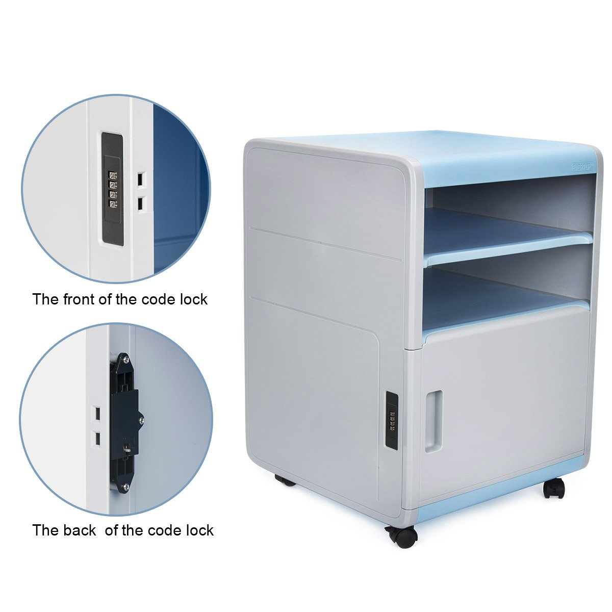 Desk Drawer Plastic Storage Drawers Desk Storage Unit Organizer Lockable File Cabinet A4 Box For Office,Home,Blue