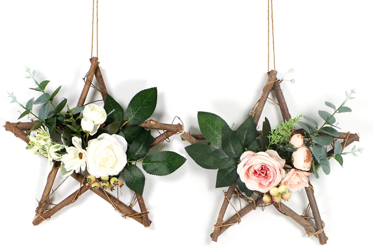 HEBE Floral Hoop Wreath Set of 2 Artificial Wooden Star Base Hoop Wreaths with Rose Flower and Eucalyptus Vine Garland Wreath for Wedding Backdrop Nursery Wall Decor