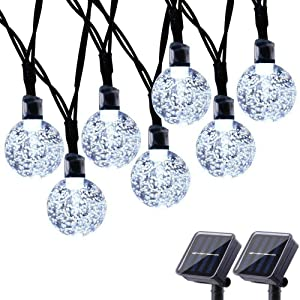 Toodour Solar String Lights 50 LED 29.5ft Solar Patio Lights with 8 Modes, Waterproof Crystal Ball String Lights for Patio, Lawn, Party, Wedding, Garden Decorations (White, 2 Pack)