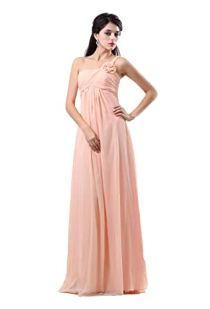 Albizia Pink A-line One-shoulder Handmade Flower Pleated Prom Dresses Gown(2