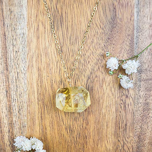 Chunky citrine nugget crystal pendant necklace in 14k gold fill - 18