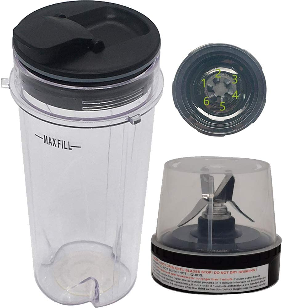 Joystar replacement 16-Ounce (16 oz.) Cup with spout Seal Lid with blade for 1000W Nutri Ninja Blender BL740/BL660