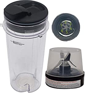 Joystar replacement 16-Ounce (16 oz.) Cup with spout Seal Lid with blade for Ninja Kitchen System Pulse Blender BL770