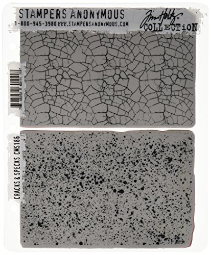 Tim Holtz Collection Stamper - Stampers Anonymous Tim Holtz Cling Rubber Stamp Set, 7 by 8.5-Inch, Cracks and Specks