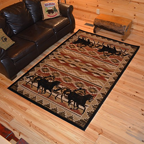 "Rustic Lodge Great Plains Horse 5x8 Area Rug, 5'3""x7'7"" 6983"