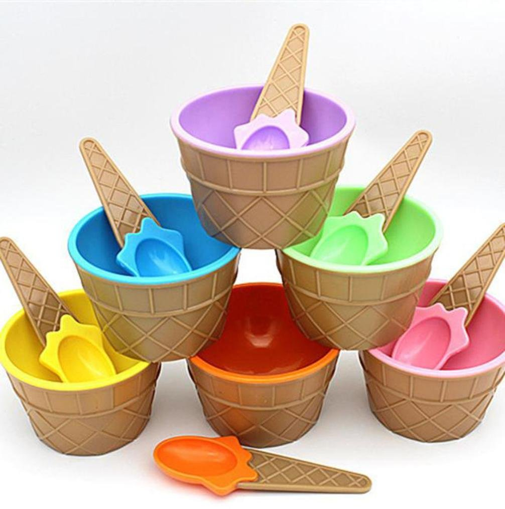 Best Gift for the Children's Day ! Xshuai® Pack of 6 Unique Design for Kids Colorful Food Grade Plastic Ice Cream Cone Bowl Set with Matching Spoon Dish Dessert Snack Bowl Summer Party (Random)