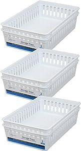 Basic White Storage Trays (6, Rectangle) by Mainstay
