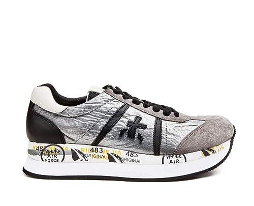CONNY 1493 Premiata Sneakers Donna in pelle grigia e tessuto | Omero Abbigliamento