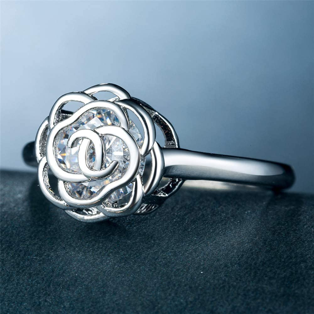Huitan Statement Ring with Hollow Rose Design Halo CZ Engagement Rings for Women Girls