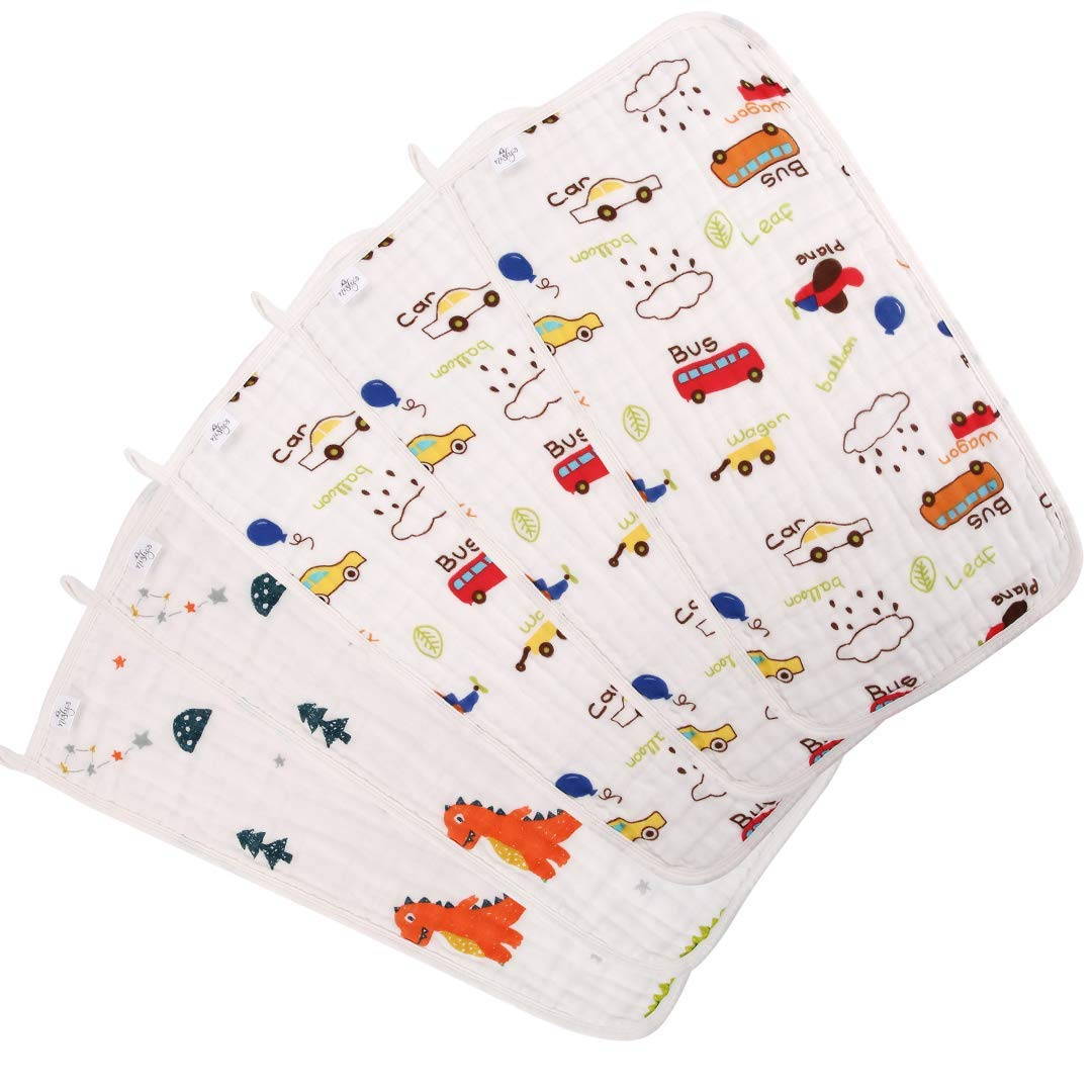 Muslin Baby Burp Cloths, 5 Pack, Soft and Absorbent, Organic Cotton, Boy or Girl by nisly's