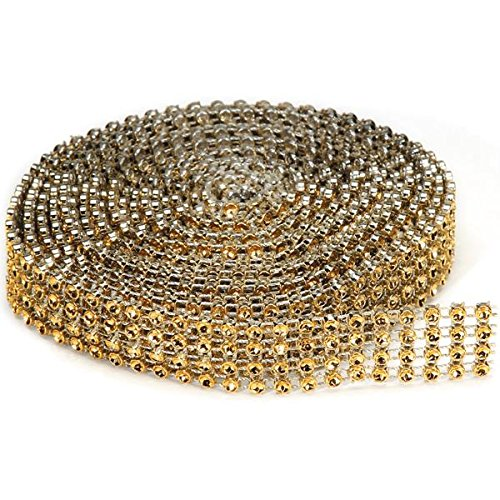 Darice RH1010 Gold Bling on a Roll, 4 Row, 3mm x 3 yd Bling on a ()