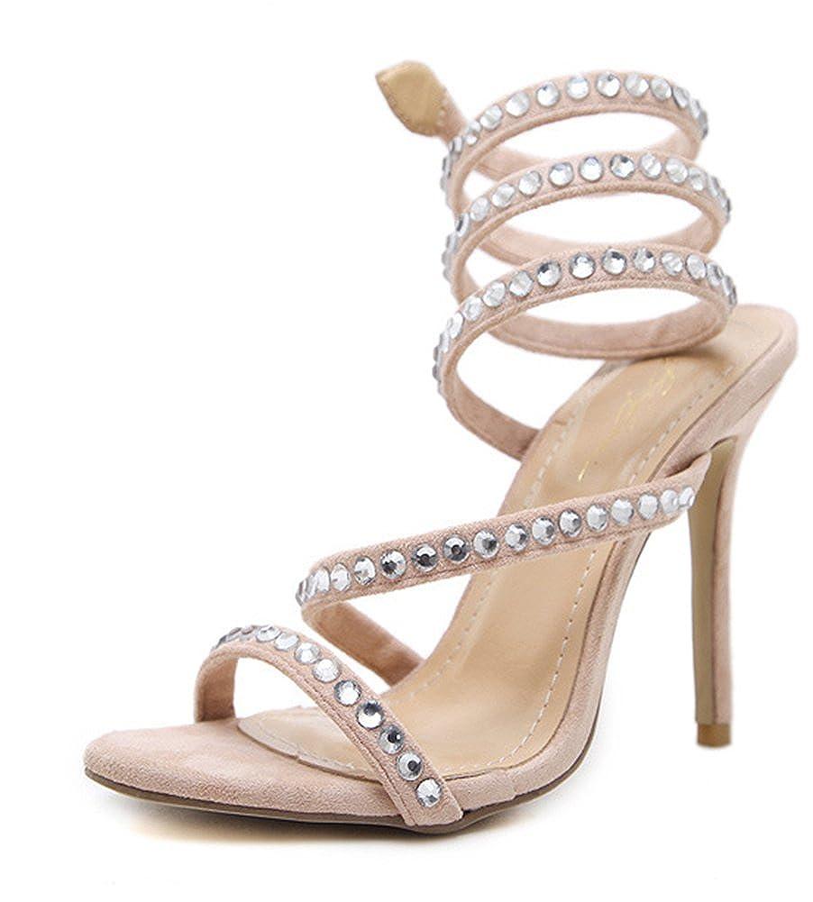 Aisun Damen Offene High Zehen Strass Spangen Stiletto High Offene Heels Abendschuhe Sandale Aprikosenfarben 268b6c