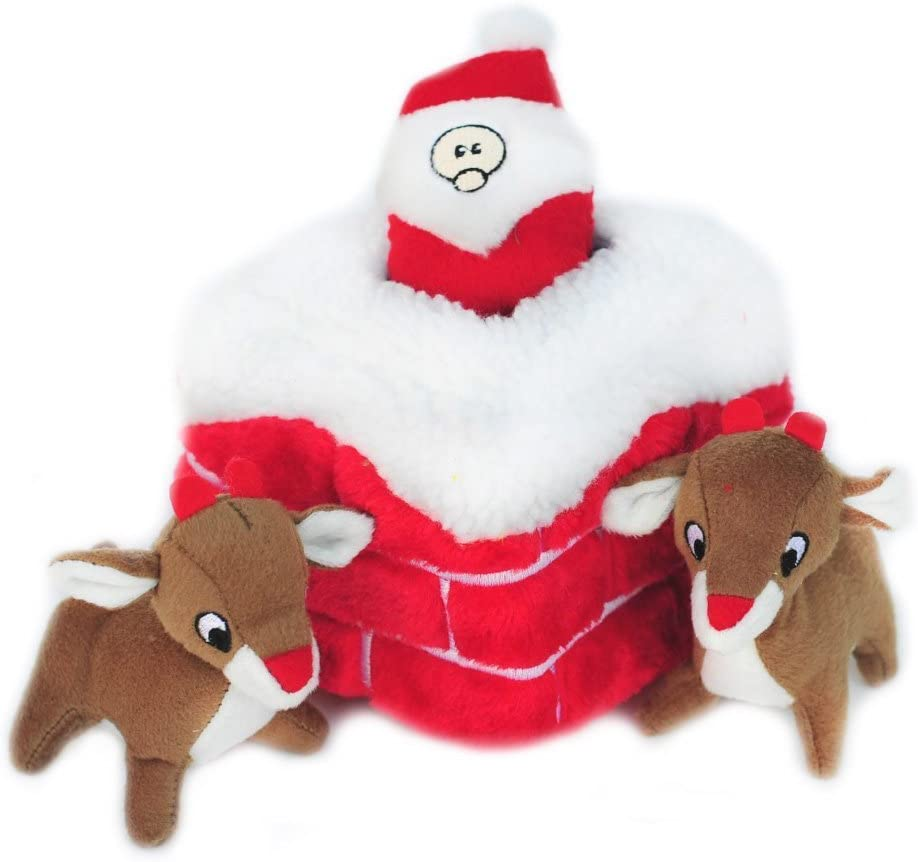 ZippyPaws Holiday Burrow, Interactive Squeaky Hide and Seek Plush Dog Toy