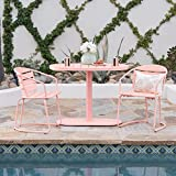 Great Deal Furniture Santa Monica Outdoor Matte Coral Finished Iron Bistro Set For Sale