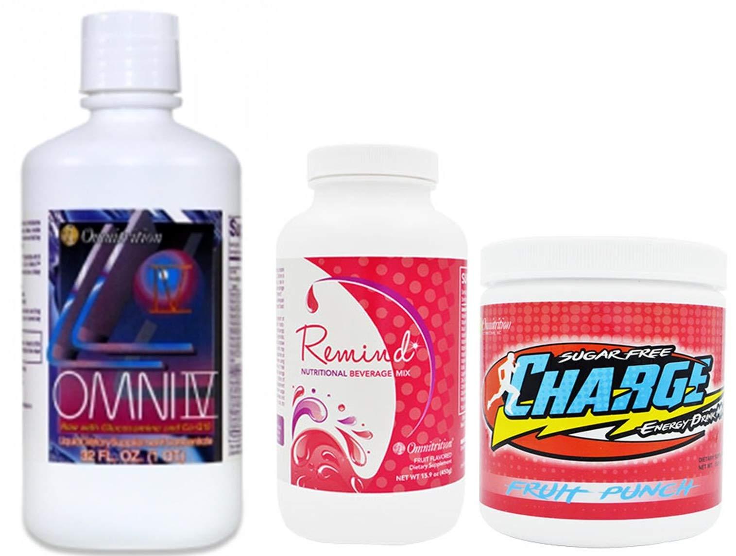 Omnitrition Bundle (Includes: Omni IV w/Glucosamine, Remind and Omni Sugar Free Fruit Punch Charge) by Generic