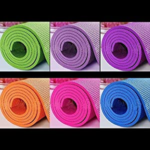 Roomiac PVC Anti-Skid Washable Yoga Mat – 6mm Thickness (One Piece, Random Colour)