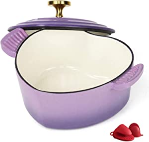 Heart-Shaped Enamel Dutch Oven, Cast Iron Casserole Dish with Dual Handles and Lid, Professional Enamel Cookware Crock Pot for Slow-Cooking Meats and Vegetables 115 (Color : Purple)