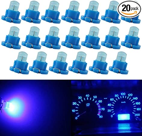 Pack of 20 QasimLED Amber t5 DC 12V COB t4.2 1SMD Dashboard Light Bulb Warning Indicator Dashboard Instrument Light Interior Car Door Lights