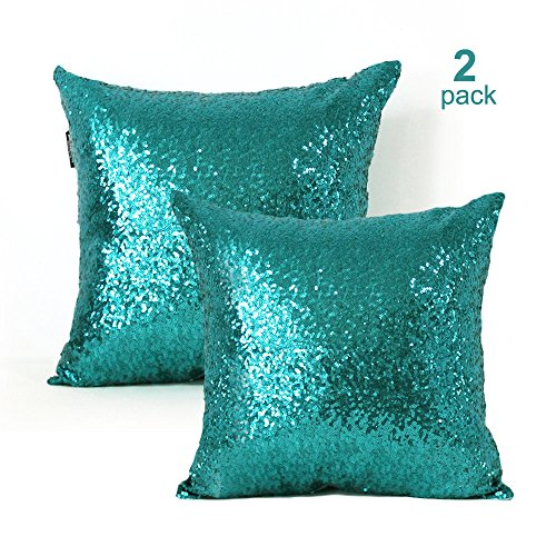 Sequin Pillow Covers 18x18 Inch-2 Pack Square Teal sequin pillow case,Glitter Decorative Throw Pillow Cases With Hidden Zipper & Luxury Satin Back Side