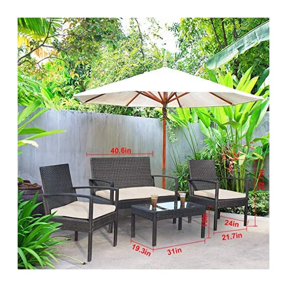 """Wicker Patio Furniture 3 Piece Patio Set Chairs Wicker Outdoor Rattan Conversation Sets Bistro Set Coffee Table for Yard or Backyard - INDOOR & OUTDOOR-Thickly Cushioned Wicker Patio Set Chairs For Maximum Comfort, Outdoor Bistro Set Gives You A Excellent Seating Experience.Our Garden Outdoor Conversation Set have strong feet to protect your floor and increase the stability of your furniture. Rattan Chair Dimension: 23"""" x 23"""" X 33 (L X W X H),Table Dimension: 16"""" x 16"""" x 16"""" (L X W X H) QUICK & EASY ASSEMBLY-This Outdoor Furniture Set Comes With All Hardware & Necessary Tools. Follow The Instruction, You Can Easily And Quickly Assemble The Patio Chair Set.The patio set is perfect for a small backyard or balcony, and serves as a relaxing place to enjoy time outdoors. SIMPLE & ELEGANT-The cushions of the patio bistro set use a high-density rebound sponge to give you a comfortable sitting feel.The patio set is simple and stylish,it will be perfect for decorating your yard, poolside, balcony, patio and home.Outdoor set features and elegant glass top side table perfect for a couple glasses of wine or the morning coffee and newspaper. - patio-furniture, patio, conversation-sets - 61EjXXfKqJL. SS570  -"""