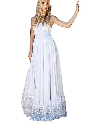 Dressesonline Women s Spaghetti Straps Beach Wedding Dresses Long Boho Wedding  Gown US2 d7a885c64c