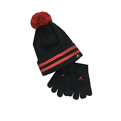 Air Jordan Little Kids Hat and Mitten Set Black Gym Red Size 4-7 33fed60999a4
