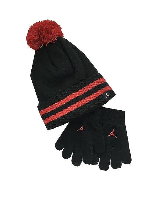 c47951a2c25 Amazon.com  Air Jordan Little Kids Hat and Mitten Set Black Gym Red ...