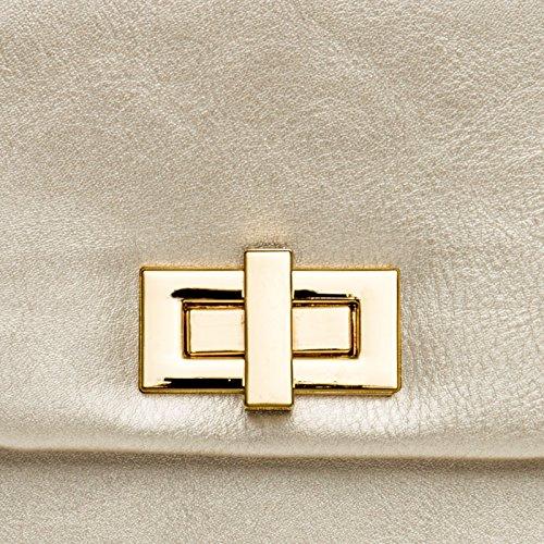 TA374 chaînette de CASPAR longue Sac avec à Pochette Champagne main soirée pour clutch élégant femme enveloppe 6d1pwdq