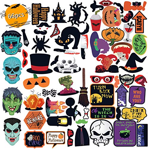 Funny Halloween Photos (Unihoh Various Party Photo Prop for Halloween, Halloween Party Supplies 66pcs Different Designs Props,Scary Funny Props for Halloween)