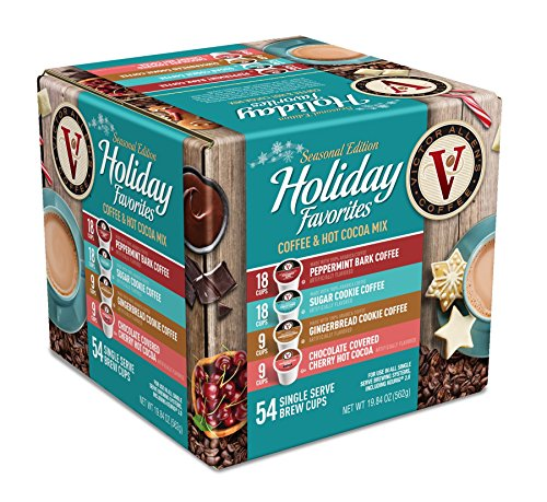 Victor Allen Coffee Holiday Favorites Coffee & Hot Cocoa Mix Single Serve K-cup, 54 Count (Compatible with 2.0 Keurig Brewers)
