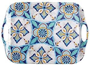 "Blue Floral Tile Melamine Serving Tray with Handles, 24.75""L x 18""W x 1""H"