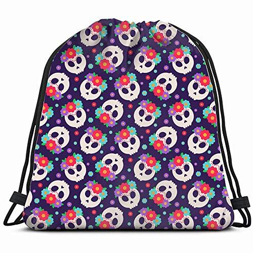 Skull Flower Wreath Flowers Frida Holidays Drawstring Backpack Sports Gym Bag For Women Men Children Large Size With Zipper And Water Bottle Mesh Pockets]()