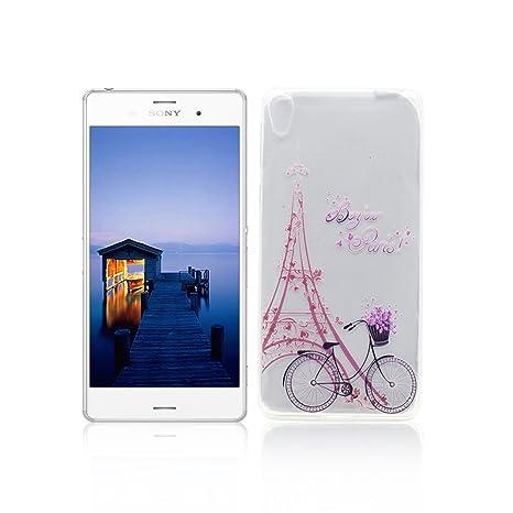 Funda Sony Xperia E5 Carcasa Protectora OuDu Funda para Sony Xperia E5 Caso Silicona TPU Funda Suave Soft Silicone Case - Torre & Bicicleta