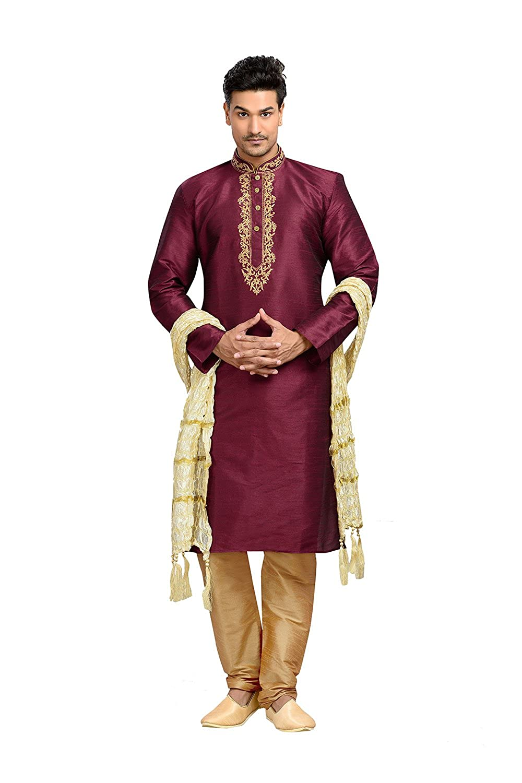 PCC Mens Kurta Pajama Wedding Dupion Art silk WINE India Party Wear Set KES-4751