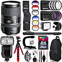 Tamron 16-300mm Di II VC PZD MACRO Lens for Nikon + Elite Series Digital SLR Auto-Focus Power Zoom Flash with LCD Display, Bounce/Swivel for Nikon DSLR (Black) + 6PC Graduated Filter Set + LED
