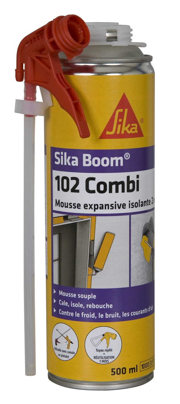 Espuma polyuréthanne expansiva - Sika Boom 102 Combi - 500 ml: Amazon.es: Bricolaje y herramientas